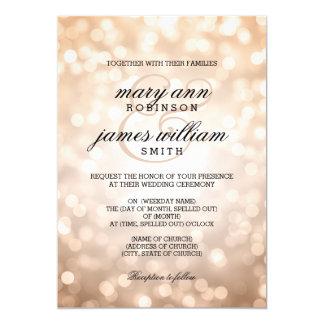 Kupfernes Bokeh beleuchtet elegante Hochzeit 12,7 X 17,8 Cm Einladungskarte