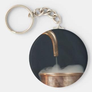 Kupfernes Rohr mit Dampf Schlüsselanhänger
