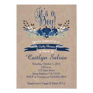 Kürbis-Babyparty-Einladungs-Marine-Blau 12,7 X 17,8 Cm Einladungskarte