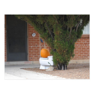 Kürbis, der auf einer Toilette sitzt Postkarte
