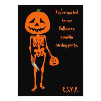 Kürbis, der Halloween schnitzt 12,7 X 17,8 Cm Einladungskarte