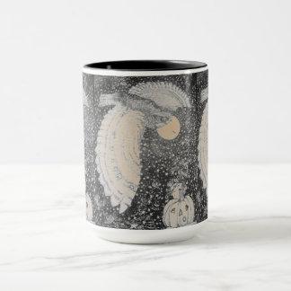 Kürbis-Eulen-Mond-Muster Tasse