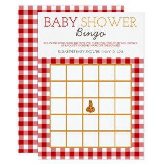 Kürbis-Eulen-u. Gingham-Babyparty-Bingo Karte