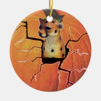 Kürbis-Gepard Rundes Keramik Ornament