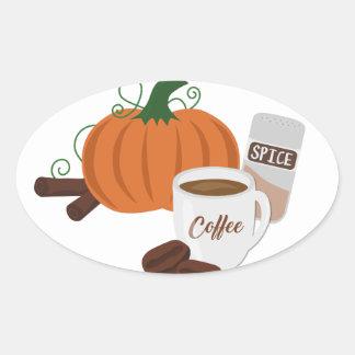 Kürbis-Gewürz-Kaffee Ovaler Aufkleber