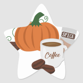 Kürbis-Gewürz-Kaffee Stern-Aufkleber