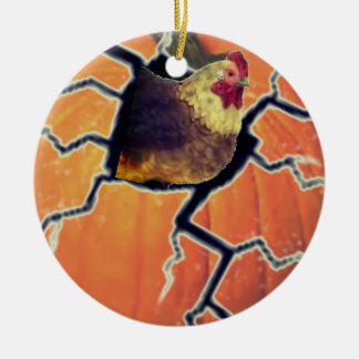 Kürbis-Hahn Keramik Ornament