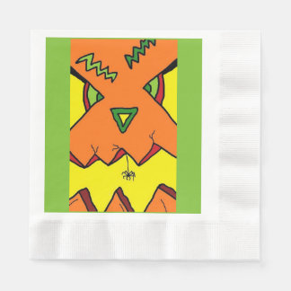 Kürbis-Halloween-Kürbislaterne u. -spinne im Mund Papierserviette
