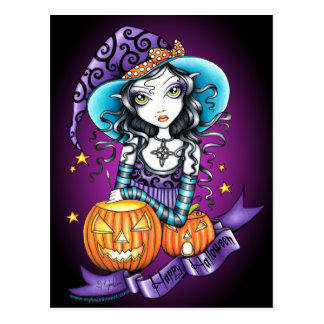 "Kürbis-Hexe-Postkarte ""Lisas"" Halloween Postkarte"