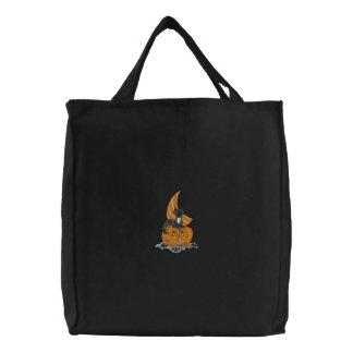 Kürbis-Katze Bestickte Einkaufstasche