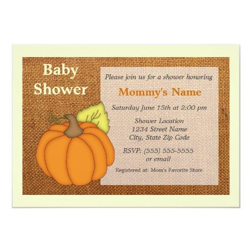 Kürbis Leinwand Babyparty Einladung 12,7 X 17,8 Cm Einladungskarte