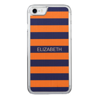 Kürbis-Marine-Blau Horiz adrettes Carved iPhone 8/7 Hülle