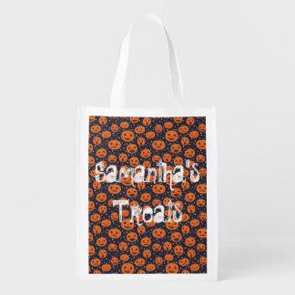 Kürbis-Muster-Gewohnheits-Leckerei Halloweens Wiederverwendbare Einkaufstasche