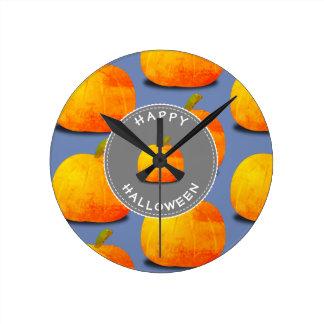 Kürbis-Muster Halloween Runde Wanduhr