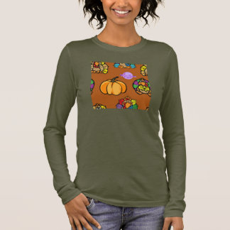 Kürbis-u. Truthahn-Browns langes Slv feines Jersey Langarm T-Shirt