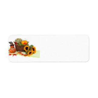 Kürbis und Sonnenblumen Rücksendeetiketten