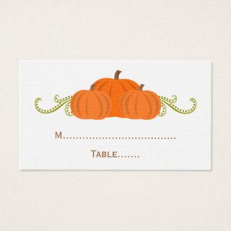 Kürbis-Wirbels-Hochzeit im Herbsts-Platzkarte Visitenkarte