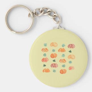 Kürbise mit Blätter-grundlegendem Knopf Keychain Schlüsselanhänger