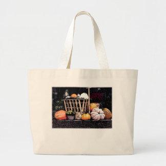 Kürbise und Mama-Herbst-Bild Jumbo Stoffbeutel