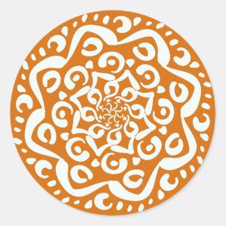 Kürbiskuchen-Mandala Runder Aufkleber