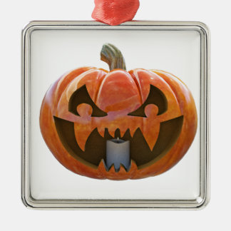Kürbislaterne 2 quadratisches silberfarbenes ornament