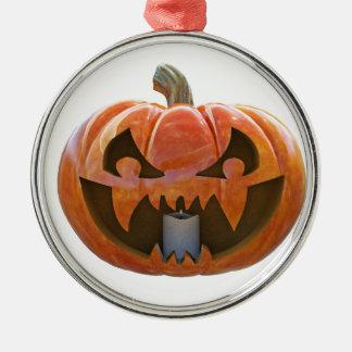Kürbislaterne 2 rundes silberfarbenes ornament