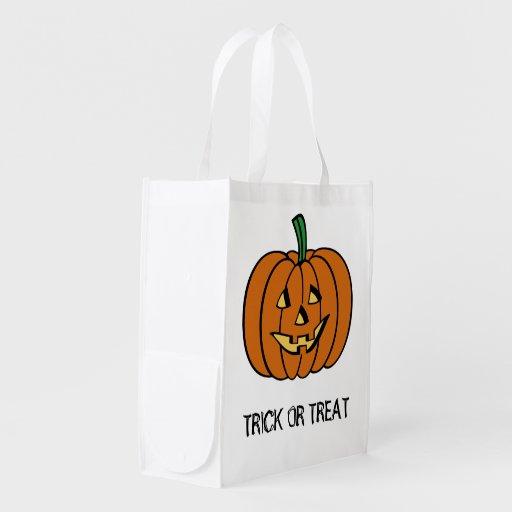 Kürbislaterne-Halloweentrick-oder -Leckerei-Tasche Wiederverwendbare Einkaufstaschen