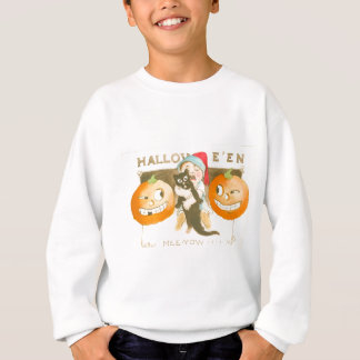 Kürbislaterne-Kürbis-schwarze Katzen-niedliches Sweatshirt