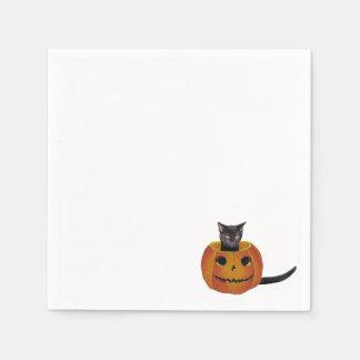 Kürbislaterne und Katze Serviette