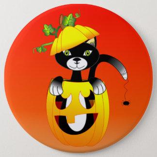 Kürbislaterne und schwarze Katze Runder Button 15,3 Cm