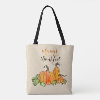 Kürbiswatercolor-Kürbis-Halloween-Erntedank Tasche