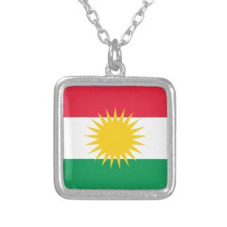 Kurdistan-Flagge Halskette Mit Quadratischem Anhänger
