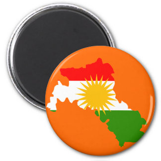 Kurdistanflaggenkarte Runder Magnet 5,1 Cm