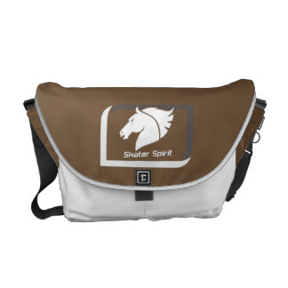 #Kuriertasche medium in Braun-Weiß Kurier Tasche