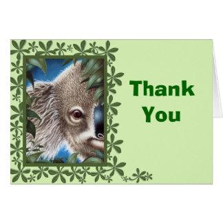 Kuriositäts-Koala-Grün-Blatt-Entwurf danken Ihnen Karte