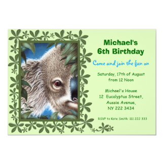 Kuriositäts-Koala-Kindergeburtstag-Party Einladung