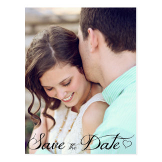 Kursivherz-Save the Date Postkarte