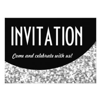 Kurve des Glitz silberne schwarze Einladungs Individuelle Ankündigung