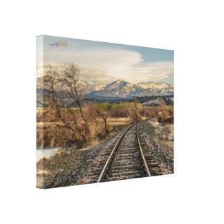 Kurve in den Bahnen - Bahnstrecken - Berge Leinwanddruck