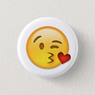 Kuss-Gesicht Emoji Runder Button 2,5 Cm