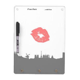 Küsse geliebt! Paris dry erase board & key holder