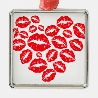 Küsse und Liebeherz Quadratisches Silberfarbenes Ornament