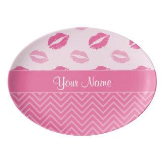 Küsse und Zickzacke Rosa und Weiß Porzellan Servierplatte