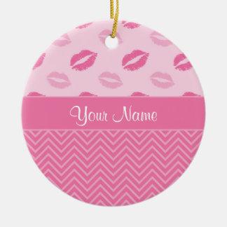 Küsse und Zickzacke Rosa und Weiß Rundes Keramik Ornament