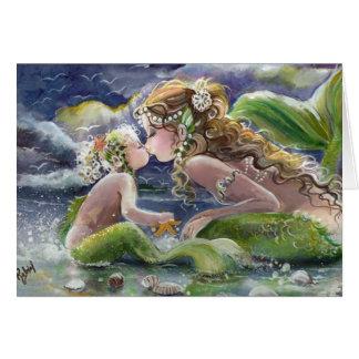 Küssen der Meerjungfrau-und Kinderkarte Karte