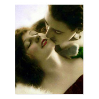 Küssen der Paar-Vintagen Postkarte