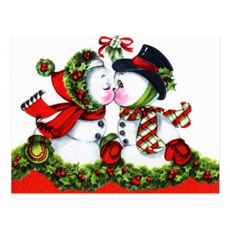 Küssen der Schneemann-Paare Postkarte