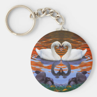 Küssen der Schwäne in der Liebe, Herz-Form-Hälse Schlüsselanhänger