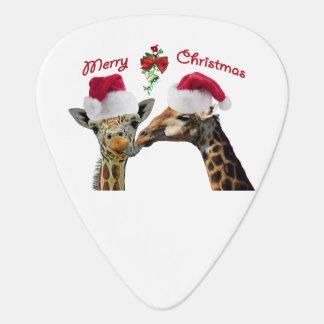 Küssen der Weihnachtsgiraffen unter Mistelzweig Plektron
