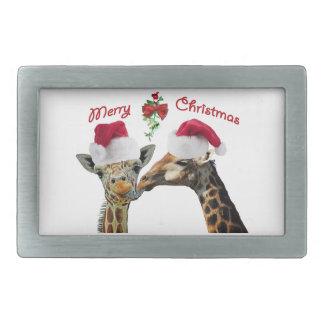 Küssen der Weihnachtsgiraffen unter Mistelzweig Rechteckige Gürtelschnalle